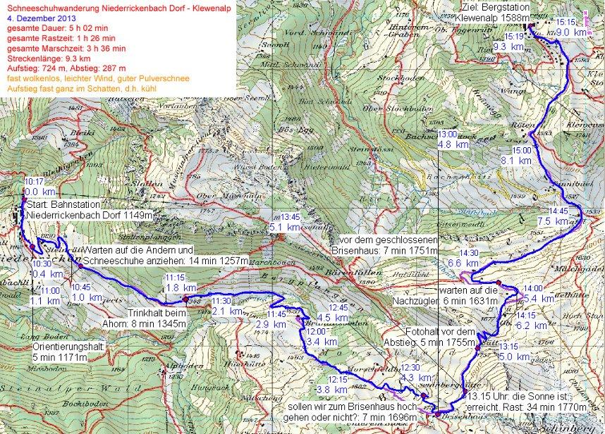 Die Route Niederrickenbach - Klewenalp