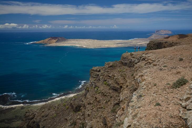 Monte Amarila auf La Graciosa von den Famara Klippen